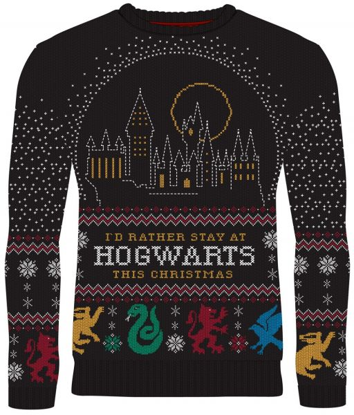 Harry Potter: I'd Rather Stay at Hogwarts Ugly Christmas Sweater/Jumper