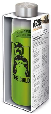 Star Wars: The Mandalorian Baby Yoda Glass Water Bottle w/Silicone Cover