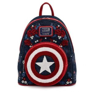 Captain America: 80th Anniversary Floral Shield Loungefly Mini Backpack