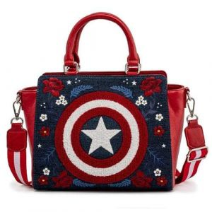 Captain America: 80th Anniversary Floral Shield Loungefly Crossbody Bag