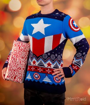 Captain America: Red White And Blue Ugly Christmas Sweater/Jumper