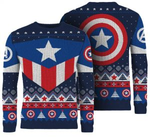 Captain America: Red White And Blue Knitted Christmas Jumper