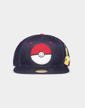 Pokemon: Pika Pokeball Denim Snapback Cap Preorder