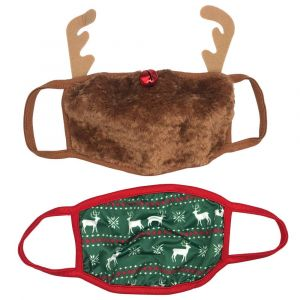 Reindeer & Bell Nose Face Masks (2 Pack)